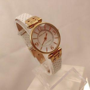 Anne Klein AK Watch 9888 Leather Band Gold White